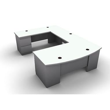 SNAP!Office U-Shaped Single Pedestal Bow Front Desk, Bridge & Credenza - Left Hand - Aluminum Gray & Frosty White Top
