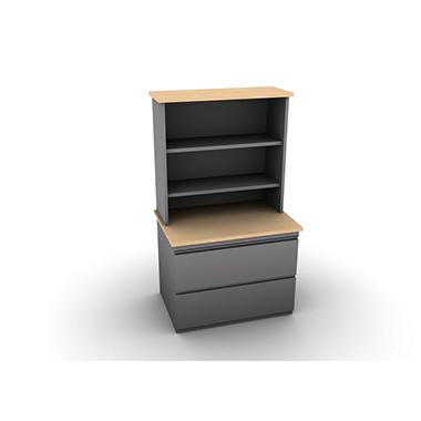 SNAP!Office - Filenza with Bookcase - Aluminum Gray & Amber Maple Top