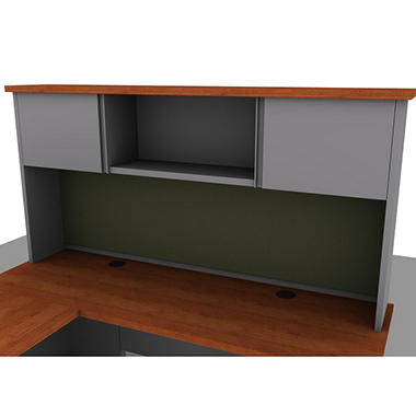 SNAP!Office - Overhead Cabinet - Aluminum Gray & Blossom Cherrywood Top