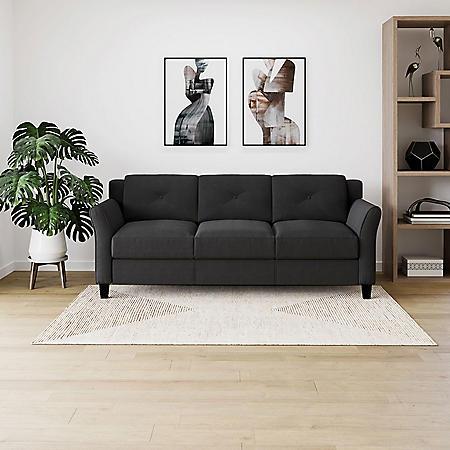 Harris Flared-Arm Sofa, Black