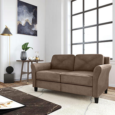 Harris Teardrop-Arm Loveseat, Brown