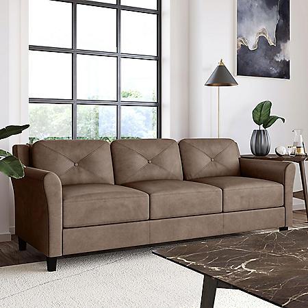 Harris Teardrop-Arm Sofa, Brown