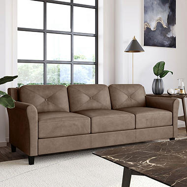 Harris Teardrop-Arm Sofa, Brown