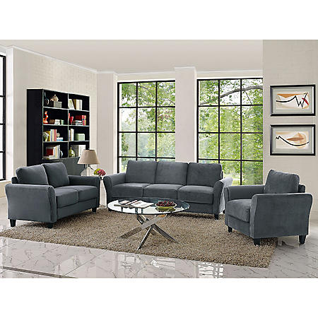 Denver Teardrop-Arm 3-Piece Living Room Set, Grey