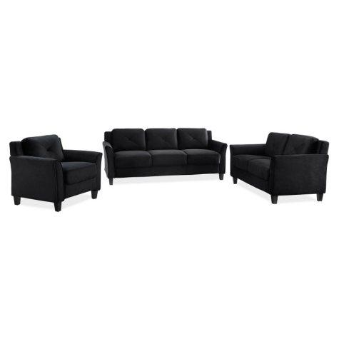 Harris Flared-Arm 3-Piece Living Room Set, Black