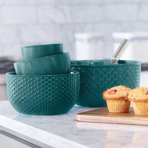 4-Piece Textured Mixing Bowl Set (Assorted Colors)