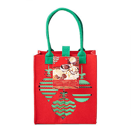 Festive Red Ornament Tote of Holiday Treats