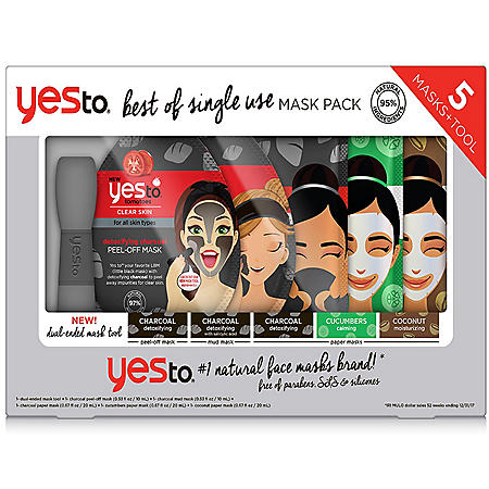 Yes To Best of Single Use Mask Pack, Variety (5 masks, tool)