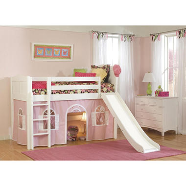 Cottage Playhouse Tent Twin Loft Bed, White