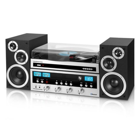 Innovative Technology Classic 50W CD Stereo System with Record Player and Bluetooth- Silver