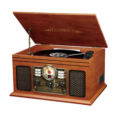 Victrola Wooden 6-in-1 Nostalgic Record Player with Bluetooth and 3-Speed Turntable (Assorted Colors)
