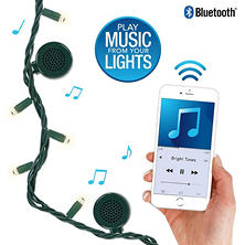 Bright Tunes Indoor/Outdoor White LED String Lights with Bluetooth Speakers (Green Cord)