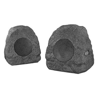 Innovative Technology  Rechargeable Bluetooth Outdoor Wireless Rock Speakers- Grey