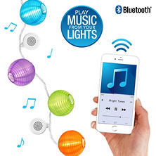 Bright Tunes Indoor/Outdoor Warm White LED lights with decorative Nylon Lanterns with Bluetooth Speakers (White Cord)