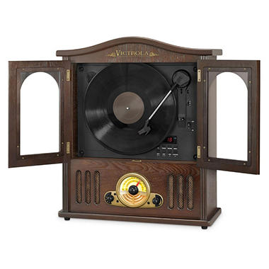Victrola Wooden Wall-Mount Nostalgic Record Player with Vertical Turntable, CD and Bluetooth