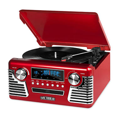 Victrola Retro Record Player Stereo with Bluetooth and USB Digital Encoding (Assorted Colors)