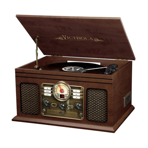 Victrola Wooden 6-in-1 Nostalgic Record Player with Bluetooth and 3 Speed Turntable- Various Colors