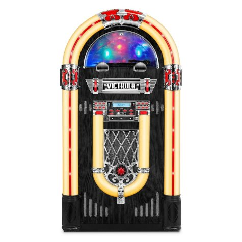 """Victrola Nostalgic  Wood 51"""" Full-size Bluetooth Jukebox with Record Player and 3-Speed Turntable"""