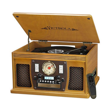 Victrola Wood 8-in-1 Nostalgic Bluetooth Record Player with USB Encoding and 3-speed Turntable- Assorted Colors