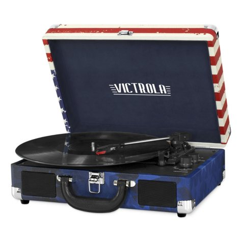 Portable Victrola Suitcase Record Player with Bluetooth and 3 Speed Turntable- Various Colors