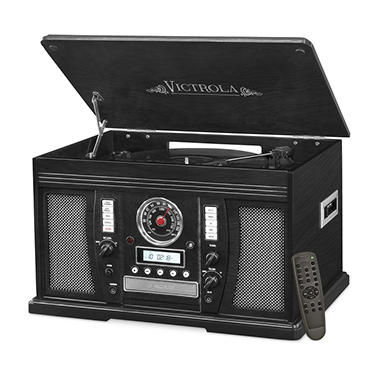 Victrola Aviator Wooden 7-in-1 Nostalgic Record Player with Bluetooth and Digital CD Encoding - Various Colors