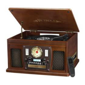 Victrola Wood 8-in-1 Nostalgic Bluetooth Record Player with USB Encoding and 3-speed Turntable - Brown