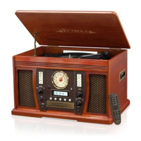 Victrola Wood 7-in-1 Nostalgic Bluetooth Record Player with CD Encoding and 3-Speed Turntable, Piano Finish