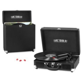 Victrola Record Player Bundle Includes a 3-Speed Turntable, Carrying Case, and 3 Replacement Needles - Various Colors