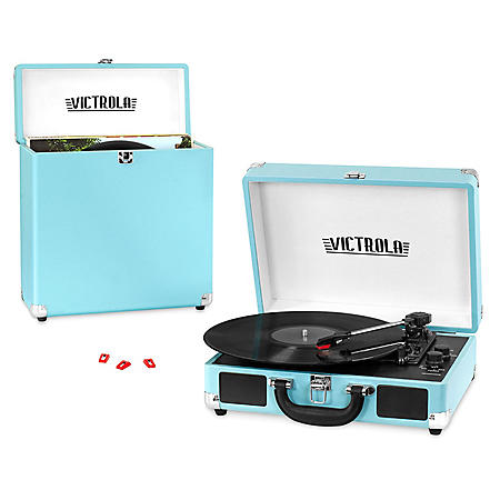 Victrola 3-Speed Record Player Bundle - Includes a 3-Speed Turntable, Carrying Case, and 3 Replacement Needles - Various Colors