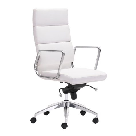 Director High-Back Leatherette Office Chair, White