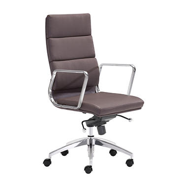 Director High-Back Leatherette Office Chair, Espresso