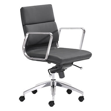 Director Low-Back Leatherette Office Chair, Black