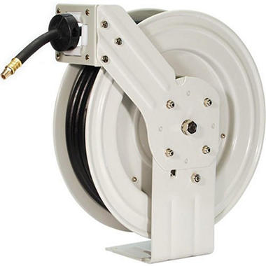 Primefit Retractable Air Hose Reel with 50-Foot Rubber Hose