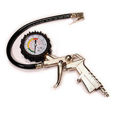 Primefit Tire Inflator with Gauge, Pistol Grip and Clip on Chuck