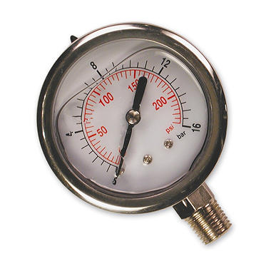 Primefit Glycerin-Filled Bottom-Mount Pressure Gauge - 200 PSI 1/4
