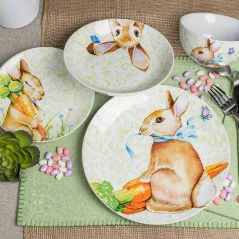 16-Piece Bunny Porcelain Dinnerware Set