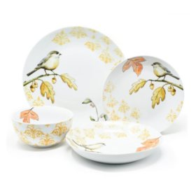 Member's Mark Harvest Bird 16-Piece Porcelain Dinnerware Set