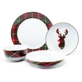 Holiday Plaid 16-Piece Porcelain Dinnerware Set