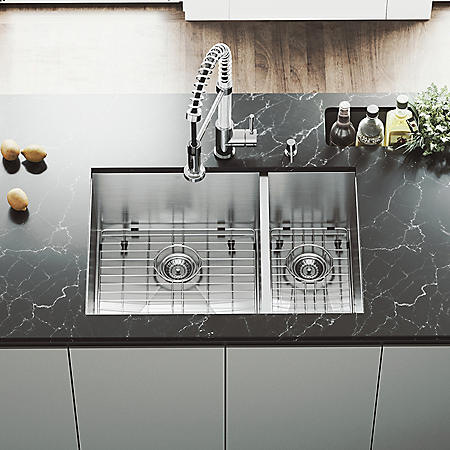 "VIGO 29"" Undermount Stainless Steel Kitchen Sink, Two Grids and Two Strainers"