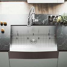 "VIGO 33"" Farmhouse Stainless Steel Kitchen Sink, Grid and Strainer"