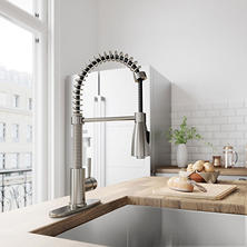VIGO Brant Stainless Steel Pull-Down Spray Kitchen Faucet with Deck Plate