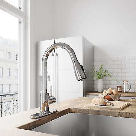 VIGO Weston Chrome Pull-Down Spray Kitchen Faucet with Deck Plate