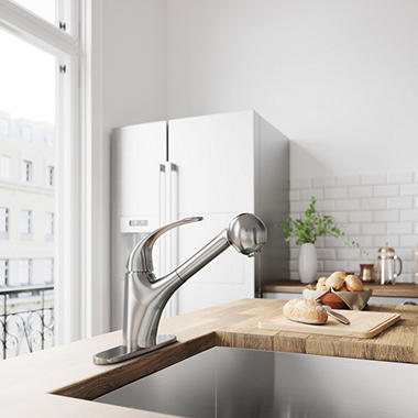 Charming VIGO Stainless Steel Pull Out Spray Kitchen Faucet With Deck Plate