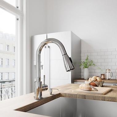 Vigo Weston Chrome Pull Down Spray Kitchen Faucet With Soap