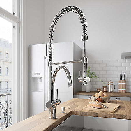VIGO Chrome Pull-Down Spray Kitchen Faucet with Soap Dispenser