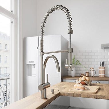 VIGO Stainless Steel Pull-Down Spray Kitchen Faucet with Soap Dispenser