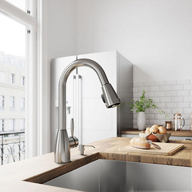 Vigo Stainless Steel Pull Down Spray Kitchen Faucet With Soap