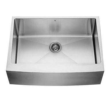 VIGO 30-inch Farmhouse Stainless Steel 16 Gauge Single Bowl Kitchen Sink with Rounded Edge