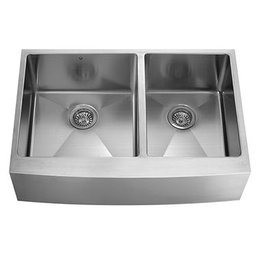 VIGO 36-inch Farmhouse Stainless Steel 16 Gauge Double Bowl Kitchen Sink with Rounded Edge