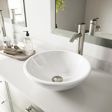 VIGO White Phoenix Stone Vessel Bathroom Sink